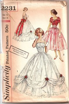 Simplicity Vintage Patterns   1950s Simplicity southern belle style ball gown pattern number 2231