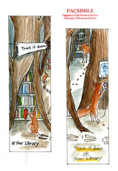 Library-themed promotional sketches by Besty Bowen!