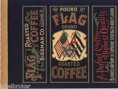 COffer can labels | Tin Can Label Vintage Coffee Flag Patriotic Cuba 1920 C General Store ...