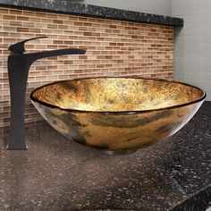Found it at Wayfair - Copper Shapes Glass Vessel Bathroom Sink and Blackstonian Vessel Faucet with Pop Up