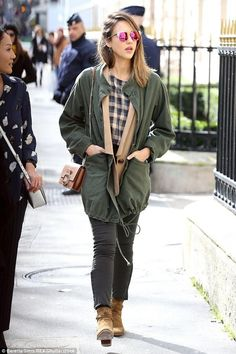 Jessica Alba wearing The Great.Military Parka, DL1961 Farrow Jeans in Magma, Roger Vivier Viv Micro Bag, Dior Mirrors Sunglasses in Violet Rose Gold, Saint Laurent Blake Jodhpur Boots in Light Sigaro and The Great. Boxy Blouse in Navy Check