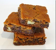 Grain Free Chocolate Chip Walnut Blondies, Refined Sugar Free--at Baking and Boys!