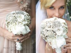 Antique White, Ivory, & Champagne Vintage-Inspired Pearl Lace Bridal Bouquet by EleganceOnTheAvenue on Etsy https://www.etsy.com/listing/165391032/antique-white-ivory-champagne-vintage