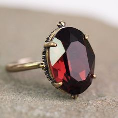 Antiqued Gothic Garnet Ring at shanalogic.com
