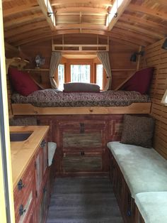 Tiny Vardo – 6'x10′ Vardo. Has a pull out queen bed, 12v led lighting, solar system, 40 gal water tank, toilet, outdoor shower, propane heat and portable stove. | pinned by haw-creek.com