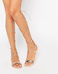 22302e700948 ASOS FLUTTERING Gladiator Tie Leg Jelly Sandals at asos.com