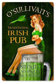 O'Sullvan's Pub Sign Retro Pin Up, Pin Up Girl Vintage, Vintage Pins, Vintage Art, Vintage Posters, Retro Art, Vintage Advertisements, 1950s Advertising, Pin Up Girls
