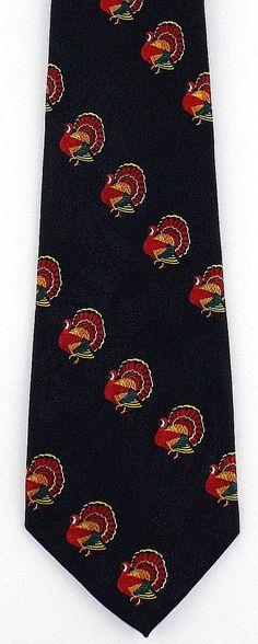 45b859e7036e New Thankful Turkeys Mens Necktie Turkey Thanksgiving Holiday Black Neck Tie  #StevenHarris #NeckTie Black