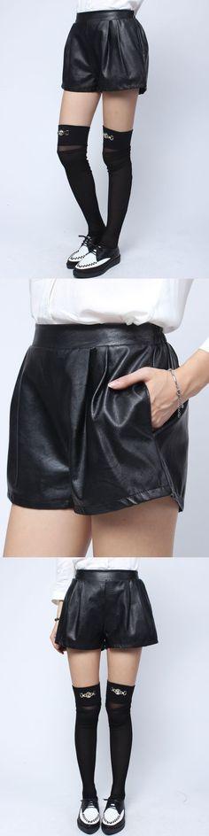 Shorts hot pants 48 women fashion black elastic waist pocket loose pu leather shorts #hot #pants #shorts #black #shorts #hot #pants #comprar #online #shorts #or #pants #for #mud #run #shorts #pants #vector