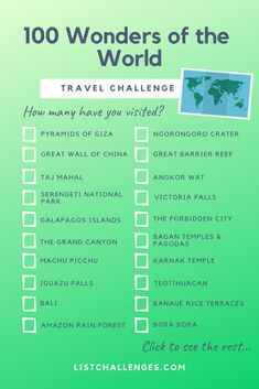 "100 World Wonder Travel Challenge How many have you visited? ""Vers 100 World Wonder Travel Challenge How many have you visited? ""Different The post 100 World Wonder Travel Challenge How many have you visited? ""Vers appeared first on Star Elite. Travel Checklist, Travel List, Travel Guide, Time Travel, Travel Bucket Lists, Europe Bucket List, Adventure Bucket List, Travel Rewards, Travel Goals"