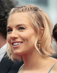 If your hair is short: Make like Sienna Miller and try two French braids from hairline to crown. And you know the drill: Pin to hold. | sienna-miller-half-up-hairstyle