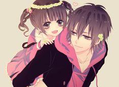 anime girl with anime boy giving piggy back