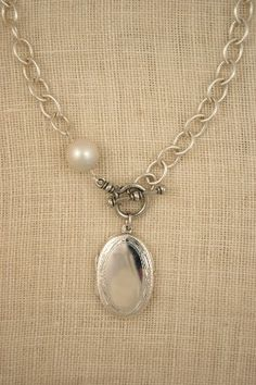 Sterling silver locket necklace by ExVoto Vintage Jewelry