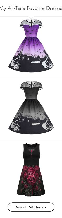 """""""My All-Time Favorite Dresses"""" by amyblack777 ❤ liked on Polyvore featuring dresses, midi day dresses, mid calf dresses, mesh dress, midi skater dress, skater dresses, ruffle cocktail dress, gothic victorian dresses, goth prom dresses and ruffle prom dress"""