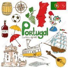 Illustration of Fun colorful sketch collection of Portugal icons, countries alphabet vector art, clipart and stock vectors. Flags Of European Countries, Countries And Flags, Portugal Country, Portugal Flag, Portugal Travel, Portuguese Lessons, Learn Portuguese, Spanish Lessons, Geography For Kids