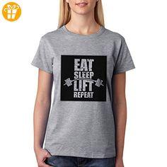 EAT SLEEP LIFT REPEAT Background XXL Damen T-Shirt (*Partner-Link)