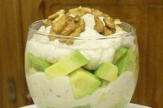 Verrine d'avocat au roquefort et aux noix Hors D'oeuvres, Entrees, Bbq, Brunch, Appetizers, Gluten, Pudding, Fruit, Cooking