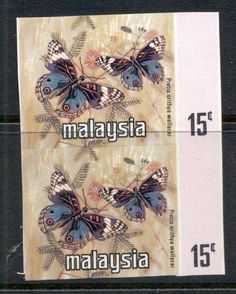 Malaysia 1971 Butterfly 15c pr IMPERF MUH
