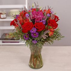 Rich regal hues combine with aromatic lavender and the luxurious textures of roses Lavender Bouquet, Pretty Flowers, Glass Vase, Delivery, Texture, Search, Rose, Creative, Beautiful Flowers