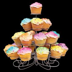 Display delicious treats in style with the Wilton Cupcakes-and-More stand. It holds 23 standard-sized cupcakes or other yummy confections. Wilton Cupcakes, Tiered Dessert Stand, Buckwheat Cake, Wedding Sweets, Wedding Cupcakes, Apple Smoothies, Salty Cake, Savoury Cake, Mini Cakes