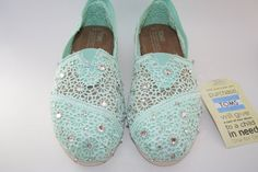 Toms Wedding Shoes, Crochet Classics in Blue, Lilac, Lemon, Navy or Mint with Swarovski Crystals