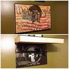"""Great hiding spot, who would suspect there are guns hidden behind that awkwardly shaped piece of tea party themed """"art"""""""