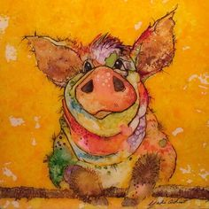 Alcohol Ink Art Painting Of Pig Watercolor of by YakiArtist