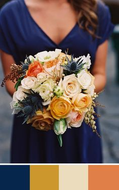 Midnight Blue Wedding Color Palettes A gorgeous fall bouquet with navy blue, orange, yellow and cream. Source: Green Wedding ShoesA gorgeous fall bouquet with navy blue, orange, yellow and cream. Fall Bouquets, Wedding Bouquets, Wedding Dresses, Dream Wedding, Wedding Day, Rustic Wedding, Trendy Wedding, Wedding Blue, Wedding Summer