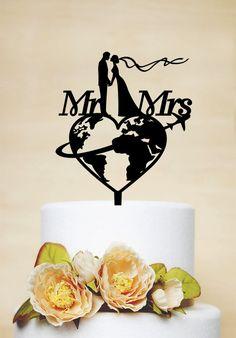 Travel themed Wedding Cake Topper, Mr & Mrs Cake Topper, Airplane Cake Topper, Personalized travelling Bride and Groom Cake Topper P169