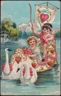 Valentine Swans Lead Cupids in Heart Boat Pretty One My Funny Valentine, Valentine Cupid, Valentine Images, Valentines Greetings, Valentines Art, Vintage Valentine Cards, Valentines Day Hearts, Vintage Greeting Cards, Vintage Ephemera