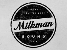 "Mix of different font faces. Gotham for ""Vintage, Sound, USA"", Gotham Condensed for ""Electronics,"" and Machiarge for the script Milkman."