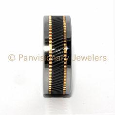 10MM Copper & Black Ceramic Inlay Notched Tungsten Carbide Wedding Band Ring  #PremiumTungsten