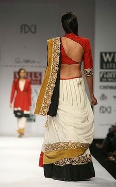 anand-Kabra-Ramesh-Sharma (i like the saree blouse design) Blouse Back Neck Designs, Sari Blouse Designs, Blouse Styles, Ethnic Fashion, Asian Fashion, Trendy Fashion, Indian Dresses, Indian Outfits, Choli Designs