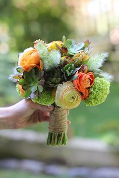 This is rustic and very different from the traditional bridesmaid bouquet.