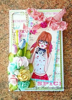 I made this card using True Friends collection by Carta Bella and Digi picture by Janet, also I used flowers by I am Roses and cheapboard by Wycinanka