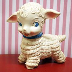Vintage rubber white lamb
