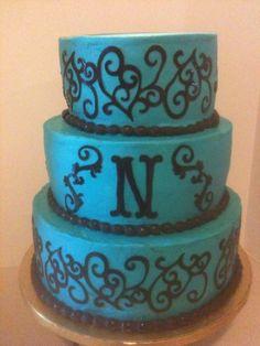 Teal wedding cake using cricut