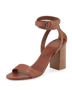 VINCE Farley Ankle-Wrap Block-Heel Sandal, Sable. #vince #shoes #sandals