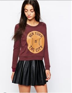 leather skirt and crew cropped sweatshirt