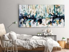 OMAR OBAID - The Shore - A large blue original abstract painting on canvas. Ready to hang original artwork. Stunning large landscape painting for living room or bedroom art. Home decor ideas. Discover more art by London artist Omar Obaid at OmarObaid.com. Size: 152x76 cm #abstractpaintings #bluedecor #homedecorideas #canvaspaintings #omarobaid