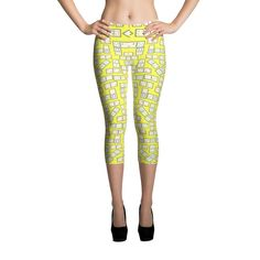 Printful Domino Tiles Capri Leggings Yellow