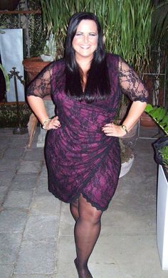 """Red alert! There are some dangerous curves ahead!  Here's Real Curve Cutie Jennifer Y. (2x, 5'10"""") in the Plus Size Gigi Lace Cinch Dress by Kiyonna.  #KiyonnaPlusYou  #Kiyonna  #PlusSize"""