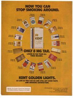 Vintage Kent Golden Lights Cigarette Print Magazine Ad 1976 Original Tobacco #Kent