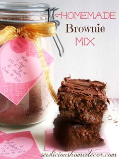 Best Homemade #Brownie Mix Recipe in a jar with labels.  Makes great gifts for Valentines Day or any occasion!  Just fill a mason jar with the homemade brownie mix and add a label. sewlicioushomedecor.com