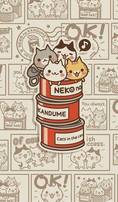 Cheerful cats change your LINE cutely. Cat Pattern Wallpaper, Cute Cat Wallpaper, Kawaii Wallpaper, Cute Wallpaper Backgrounds, Cute Cartoon Wallpapers, Animes Wallpapers, Aztec Wallpaper, Iphone Backgrounds, Pink Wallpaper