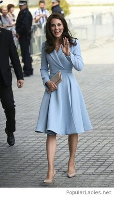Blue coat dress and nude pumps