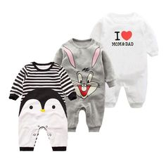 EG/_ Infant Baby Boy Girl Penguin Print Long Sleeve Romper Jumpsuit Warm Gift Rap