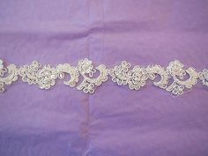 Ivory Embroidered beads English lace trim Bridal Wedding tulle Veil trim PerYard