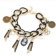 Queen Profiles Pendants Triple Tassels Dual Alloy Chains Bracelet