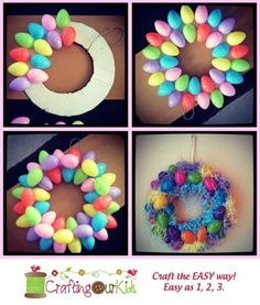DIY Plastic Egg Wreath Make colorful egg wreath for a Hoppy Easter. You'll need about 40 plastic eggs with Easter grass to recreate this idea. Related Posts Easy DIY Easter Wreaths for Front DoorWhen spring has sprung it's time to turn our heads towards Easter Crafts For Kids, Crafts To Do, Easter Ideas, Spring Crafts, Holiday Crafts, Diy Osterschmuck, Easy Diy, Diy Easter Decorations, Easter Wreaths Diy